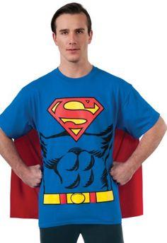 DC Comics Superman Costume T-Shirt With Cape - http://www.specialdaysgift.com/dc-comics-superman-costume-t-shirt-with-cape/