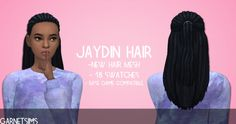 garnetsims: - JAYDIN HAIR BASE GAME COMPATIBLE - Thanks to the amazing @trillyke who tested this for me, I have successfully learned how to make a hair base game compatible. That being said, all of my hairs will be base game compatible from here on out. Comes in all EA swatches but it still isn't hat compatible (don't judge). Enjoy! - DOWNLOAD -