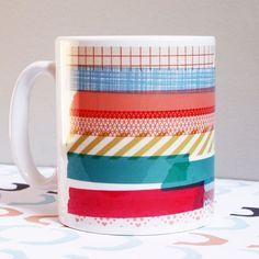 Washi Tape decorated mug! | 100 + Washi Tapes Project Ideas And Where To Buy Washi Tape