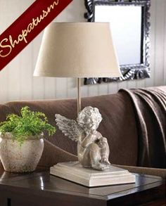 Shabby Distressed Musing Cherub Figurine Table Lamp