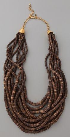 Kenneth Jay Lane Dark Wood & Bead Necklace- add to summer dress! Tribal Jewelry, Beaded Jewelry, Jewelry Necklaces, Beaded Necklace, Wooden Necklace, Jewelry Art, Jewelry Ideas, Jewelry Accessories, Jewelry Design
