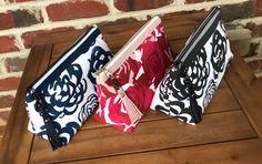 Large makeup bag in a beautiful rose print fabric.  Beautiful floral fabrics by Premier prints. Pouch by Sotak. Large Makeup Bag, Makeup Bags, Floral Print Fabric, Print Fabrics, Handmade Purses, Handmade Clutch, Japanese Bag, Premier Prints, Pencil Bags