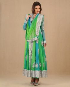 #Exclusivelyin, #IndianEthnicWear, #IndianWear, #Fashion, Blue & Parrot Green Jacketed Suit With Silver Embroidery