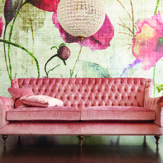 Our Fiona Sofa is pretty in pink! Tiny Living Rooms, Living Room Colors, Living Room Sets, Living Room Furniture, Home Furniture, Library Inspiration, Interior Inspiration, Small Apartment Design, Modern Sofa