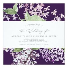 Rustic Lilac | Purple Square Wedding Invite with elegant purple watercolor lilac wildflowers and a boho country garden style. It's the perfect dark plum purple and green floral design for a romantic event. Click to customize with your personalized details today. Purple Wedding, Boho Wedding, Wedding Bride, Floral Wedding, Rustic Wedding, Square Wedding Invitations, Beautiful Wedding Invitations, Wedding Invitation Sets, Invite