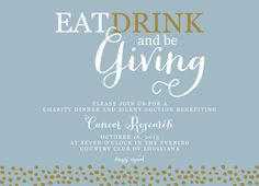 Eat Drink and Be Giving Fundraiser Fundraising Silent Auction Invitation by PenandParcel