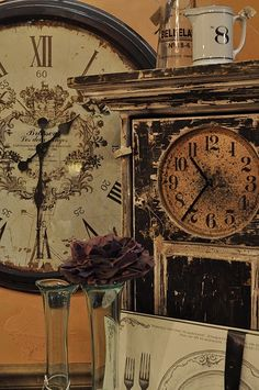 Jennifer Rizzo: Whimsy and Ruby Begonia's. Tick Tock Clock, Antique Clocks, Vintage Clocks, Father Time, Cool Clocks, Time Clock, Telling Time, Begonia, Alarm Clock