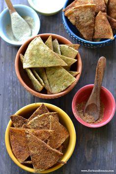 Homemade Baked Vegan Doritos - three ways! Nacho, Cool Ranch & Spicy Taco (vegan, gluten-free) | Fork & Beans