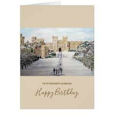 Winter at Windsor Castle Landscape Painting Card #cards #christmascard #holiday
