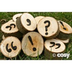 To extend the usefulness of our rustic literacy range a set of punctuation discs for older children. Set of 20 discs. Approx Dia 6cm. Rec 3+ Yrs.