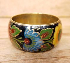 Hand Painted Brass Bangle c.1970s by Yonks on Etsy