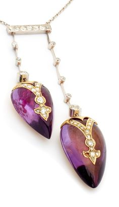 Edwardian Amethyst & Diamond Necklace