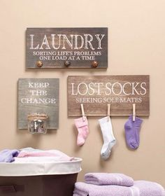 Laundry room organizers set of 3 by ALeeInteriorDesign on Etsy, $47.00 - love the sock idea! #homeorganization