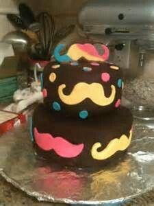 Mustache cake for girl