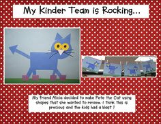 """Pete the Cat is so awesome, and this little project has the kids make Pete out of shapes! If I do this, I'll add a strip of writing paper to the bottom so kids can write """"I love my _____ shoes."""""""