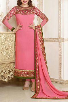 Shocking Pink Embroidered Chiffon Dress by PakRobe.com