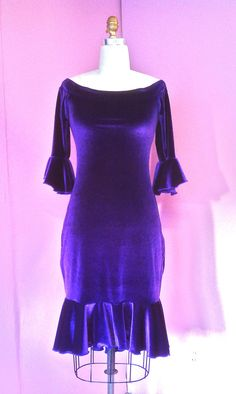 Off-Shoulder Bombshell Dress - Royal Purple Stretch Velvet - Medium - by Crimson Gypsy Designs BDYWear Now available to order! http://www.crimsongypsy.com/collections/bdywear-dresses/products/bombshell-off-shoulder-dress