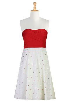 eShakti Red dot strapless dress, Justin and I think it would be a great dress to build on for a costume of Mary Poppins on a Jolly Holiday