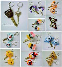 Capinhas de chave de crochê, a ideia é ótima e pode ser feito com feltro, biscuit etc...