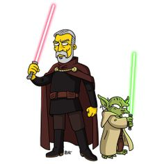 Count Dooku and Yoda from Star Wars/ Simpsonized by ADNMay the 4th be with you!