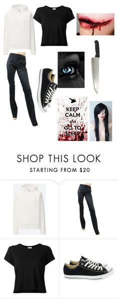 """""""Jeff the Killer Genderbend"""" by corruptedmind-678 on Polyvore featuring Uniqlo, Gucci, RE/DONE and Converse"""