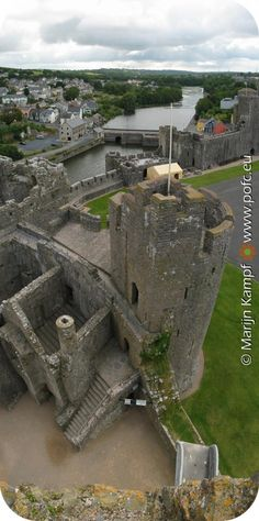 Aerial shot of Pembroke Castle, Wales. The future Henry VII was born here in January of 1457.