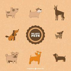 Cute Dogs Symbols Free Vector