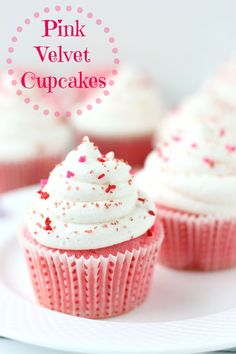 A soft and tender buttermilk cake is topped with a tangy cream cheese frosting to give you a delicious pink velvet cupcake perfect for your Valentine!