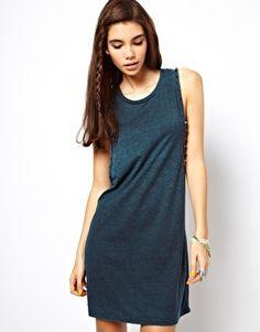 Image 1 ofASOS Drop Armhole Vest Dress With Stud Detail