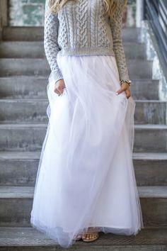 Maxi Tulle Skirt White