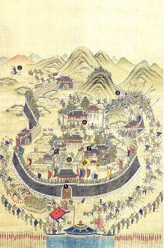 Old Maps, Antique Maps, Korean Art, Asian Art, Korean Traditional, Traditional Art, Art Sketches, Art Drawings, Korean Painting
