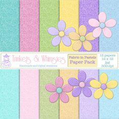 Fabric In Pastels Digital Scrapbook Papers  by TrinketsAndWhimsies