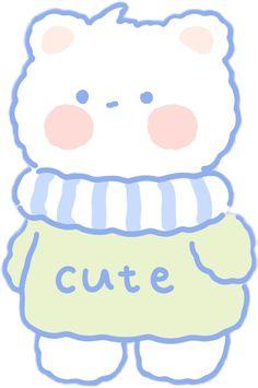 Bear Wallpaper, Kawaii Wallpaper, Cute Kawaii Drawings, Kawaii Cute, Kawaii Stickers, Cute Stickers, Korean Stickers, Dibujos Cute, Cute Doodles
