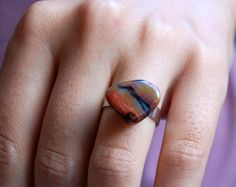 Silver and agate nugget adjustable ring agate by PoppyJohalJewelry