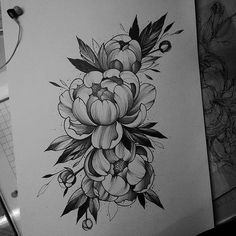 Tattoo flower sketch peonies ideas for 2019 Trendy Tattoos, Cute Tattoos, Beautiful Tattoos, Black Tattoos, Key Tattoos, Skull Tattoos, Foot Tattoos, Tattoo Sketches, Tattoo Drawings