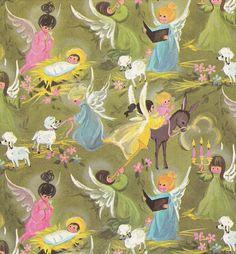 Vintage Christmas Wrap Angels 1960s by hmdavid, via Flickr