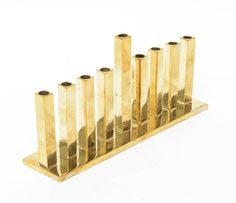Modernist Heavy Brass Holiday Candlestick image 2