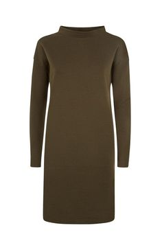 Khaki sweater dress in 100% organic Fairtrade certified cotton. Above knee length with turtleneck and long sleeves.