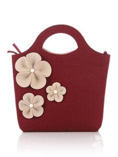 """Items similar to Vinous Felt Bag """"Bianca"""". Original, beautiful and with flowers. Made from natural wool) felt premium quality thick. on Etsy Handmade Felt, Handmade Bags, Felt Purse, Bag Making, Wool Felt, Purses And Bags, Pouch, Shoulder Bag, Leather Bag"""