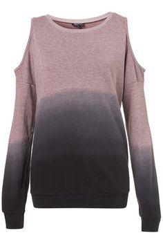 Dip-Dye Open Shoulder Sweat - Jersey Tops  - Clothing