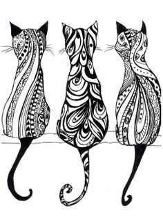 Tatouage chat : signification et Top 60 motifs de tattoo chat 85 adorable cat tattoos Hippie Drawing, Art Drawings, Monochrome Prints, Drawings, Doodle Art, Cat Art, Zentangle, Art, Zentangle Art