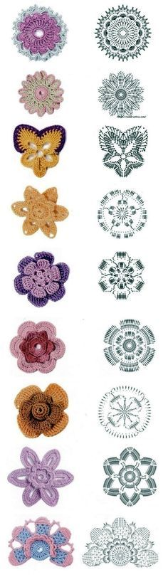 Gráficos de flores de crochê