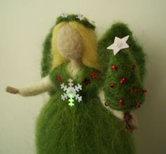 Christmas Tree Fairy Needle Felted - miniature tree Holiday Gift - Waldorf Style