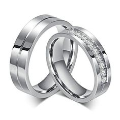 2017 Round Trendy Tension Mount Rushed Limited Anillos Jewelry Wedding Rings For Wholesale Stainless Steel Ring Cz Bands Engagement Rings Couple, Promise Rings For Couples, Couple Rings, Engagement Jewelry, Wedding Engagement, Promise Band, Wedding Jewelry, Wedding Couples, Cz Wedding Bands