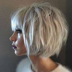relaxed messy bob with bangs #BobCutHairstylesWithBangs