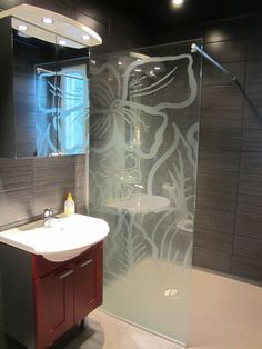 etched glass shower
