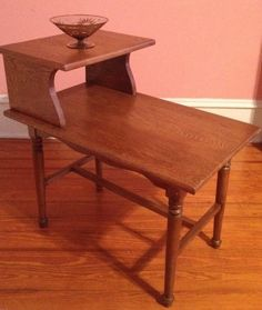 Oak 2 Tier Step Side End Table Eames Era Vtg Mid Century Danish Modern #
