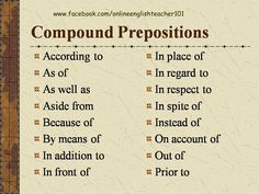 Compound prepositions.