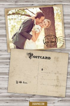 Vintage Wedding Thank You Postcards With Postmark  Photo