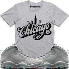 CHICAGO Grey Sneaker Tees Shirt - Jordan 10 Cool Grey